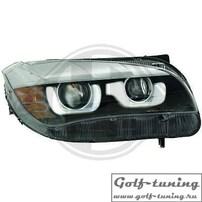 BMW X3 F25 10-14 Фары черные с линзами и 3D ангельскими глазками