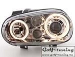 VW Golf 4 Фары с ангельскими глазками и линзами хром