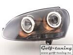VW Golf 5 Фары с линзами и ангельскими глазками черные
