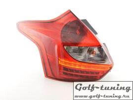 Ford Focus 11-14 Хэтчбэк Фонари светодиодные, красно-белые FKRLXLFO14003