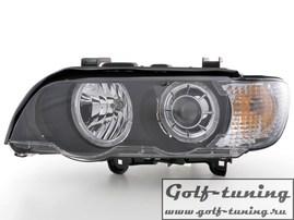 BMW X5 00-03 Фары с ангельскими глазками и линзами черные под ксенон
