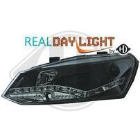 VW Polo 6R Фары Devil eyes, Dayline черные