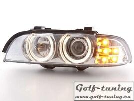 BMW E39 95-00 Фары с линзами и ангельскими глазками хром с светододным поворотником