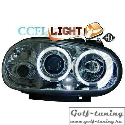 VW Golf 4 Фары с CCFL ангельскими глазками и линзами хром