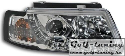 VW Passat B5 Фары Devil eyes, Dayline хром