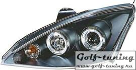 Ford focus 98-00 Фары с линзами и ангельскими глазками черные