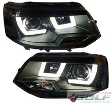 VW T5 09-15 Фары LED-Lightguide design черные