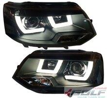 VW T5 09-15 Фары LED-Lightguide design черные
