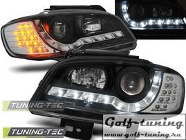 Seat Ibiza 6K, Cordoba 99-02 Фары Devil eyes, Dayline черные с светодиодным поворотником