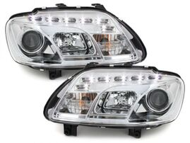 VW Touran 1T 03-06/Caddy 03-10 Фары Devil eyes, Dayline хром
