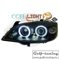 Opel Astra G Фары с CCFL ангельскими глазками и линзами черные