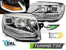 VW T6 15-20 Фары tube light led с бегающим поворотником хром