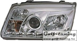 VW Bora Фары Devil eyes, Dayline хром