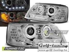 VW T5 03-09 Фары Devil eyes, Dayline с светодиодным поворотником хром