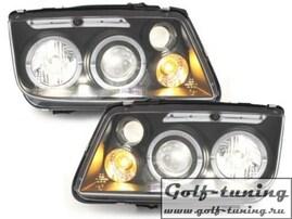 VW Bora Фары с линзами и ангельскими глазками черные