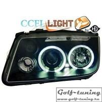 VW Bora Фары с линзами и CCFL ангельскими глазками черные