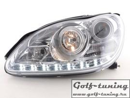 Mercedes W220 02-05 Фары Devil eyes, Dayline хром