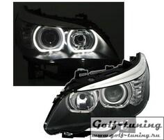 BMW E60 03-07 Фары с линзами и LED ангельскими глазками черные
