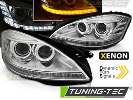 Mercedes W221 05-09 Фары Devil eyes, Dayline под ксенон с бегающим поворотником