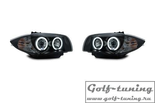 BMW E81/E82/E87/E88 04-11 Фары с CCFL ангельскими глазками и линзами черные