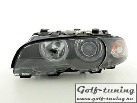 BMW E46 2Дв 98-01 Фары с линзами и ангельскими глазками черные xenon conversion kit