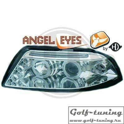 VW Passat B5+ Фары с ангельскими глазками и линзами хром