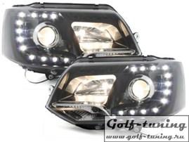VW T5 GP 09-15 Фары Devil eyes, Dayline черные SWV42LGXB