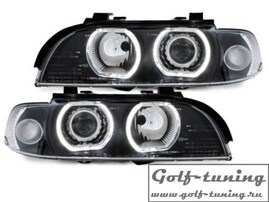BMW E39 95-00 Фары с ангельскими глазками и линзами черные под ксенон