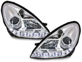 Mercedes R171 SLK 04-11 Фары Devil eyes, Dayline хром