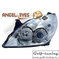 Opel Vectra С 05-08 Фары с ангельскими глазками и линзами хром