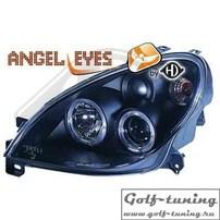 Citroen Xsara 99- Фары с ангельскими глазками и линзами черные