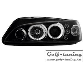 Peugeot 306 97- Фары с линзами и ангельскими глазками черные