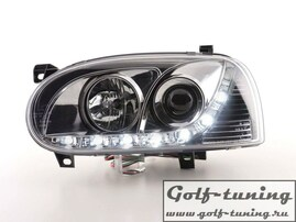 VW Golf 3 Фары Devil eyes, Dayline хром
