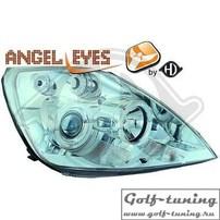 Ford Fiesta 02-08 Фары с ангельскими глазками и линзами хром