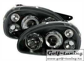 Opel Corsa B 93-00 Фары с линзами и ангельскими глазками черные