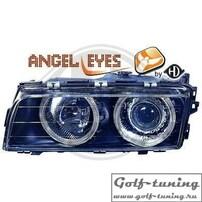 BMW E38 94-98 Фары с линзами и ангельскими глазками черные