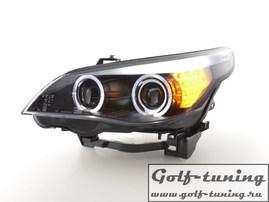 BMW E60 03-07 Фары с линзами и ангельскими глазками черные с светодиодным поворотником