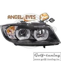 BMW E90 / E91 05-08 Фары с линзами и Led ангельскими глазками черные под ксенон