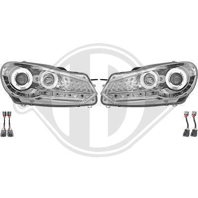 VW Golf 6 Фары Devil eyes с ангельскими глазками хром