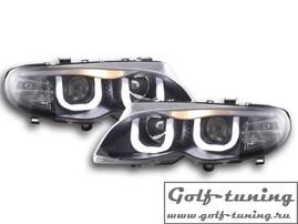BMW E46 4Дв 01-05 Фары с ангельскими глазками и линзами черные