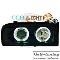 VW Corrado Фары с линзами и CCFL ангельскими глазками черные