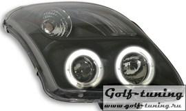 Suzuki Swift 04- Фары с линзами и ангельскими глазками черные