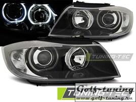 BMW E90/E91 05-08 Фары Angel Eyes черные