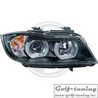 BMW E90/E91 05-08 Фары с линзами и Led ангельскими глазками черные под ксенон