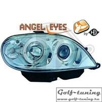 Citroen Saxo 99-03 Фары с линзами и ангельскими глазками хром