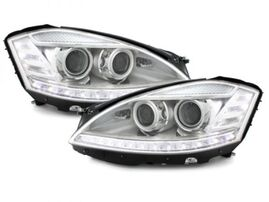 Mercedes W221 05-09 Фары Devil eyes, Dayline под ксенон хром