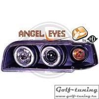 Volvo 850 92-97 Фары с линзами и ангельскими глазками черные