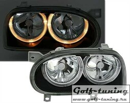 VW Golf 3 Фары с ангельскими глазками черные