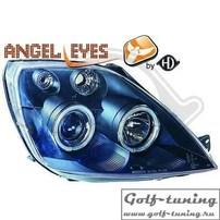 Ford Fiesta 02-08 Фары с ангельскими глазками и линзами черные
