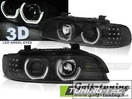 BMW E39 95-03 Фары 3D LEd Angel Eyes черные с светодиодным поворотником